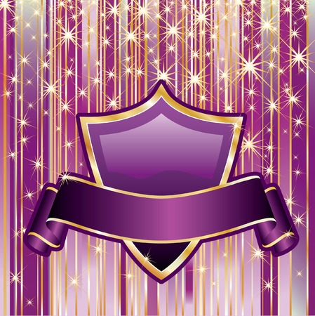 purple background with blank shield and banner Stock Vector - 7004576