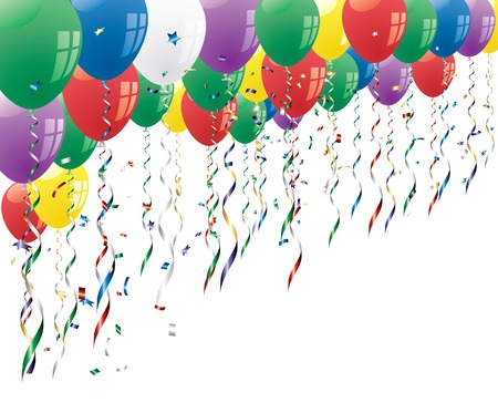 party background with confetti and balloons Stock Vector - 7004571