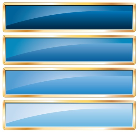 buttons in blue colors with golden frame Stock Vector - 7004573