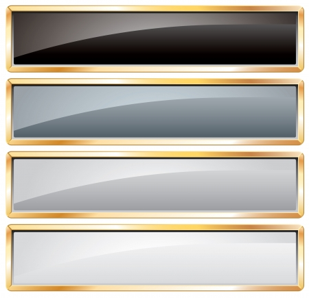 rectangle button:  buttons in black and white with golden frame