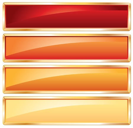 buttons in hot colors with golden frame Vector