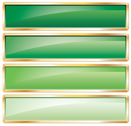 green long buttons with golden frame Stock Vector - 7004944