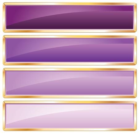 kwadrant:  Fioletowe długich przyciski z Złotego ramki Ilustracja