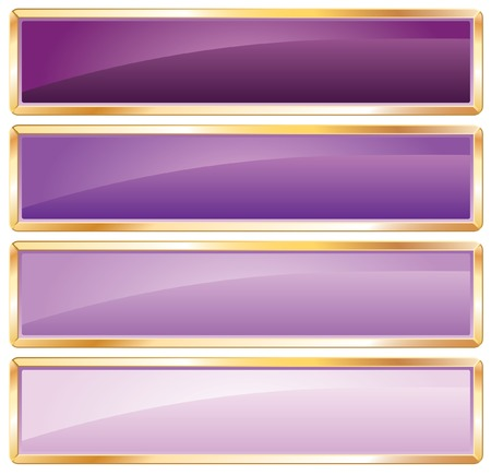 rectangle button:  violet long buttons with golden frame Illustration