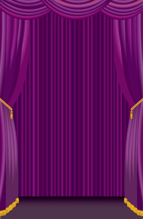 stage with purple curtain Vector