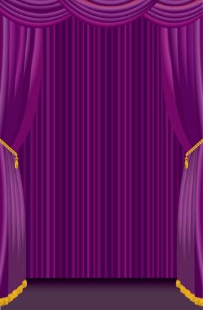 첫날: stage with purple curtain