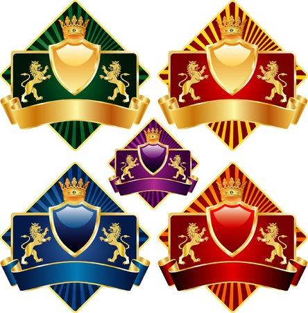 crests: etichette con leoni in cinque varianti di colore  Vettoriali