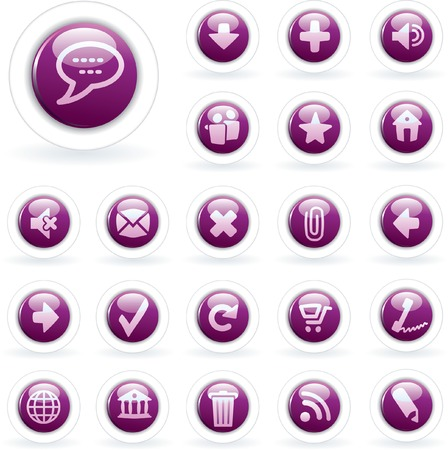 purple icons for web and computing Stock Vector - 7046652