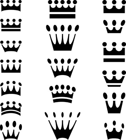 king edward: simple crown icons in eighteen variations Illustration