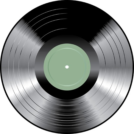 vinyl disk player: vinyl record with blank green label