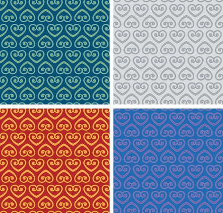 blue damask:   seamless repeating background in four color variations Illustration