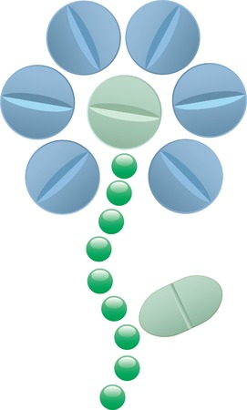 pharmacy icon: abstract drawing with flower of pills Illustration