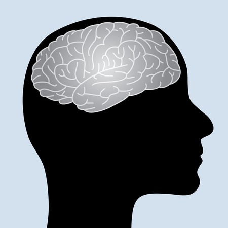 human profile with shiny brain Vector
