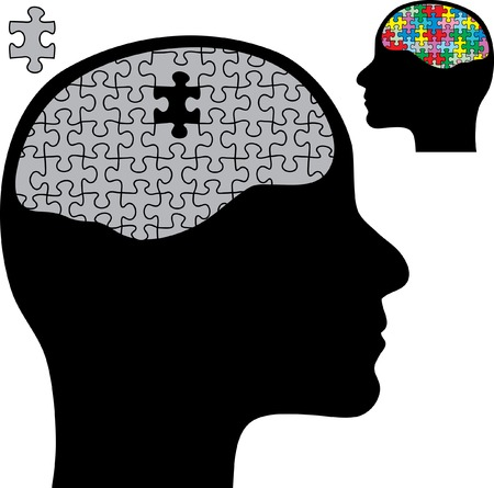 abstract illustration with brain and puzzle Vetores
