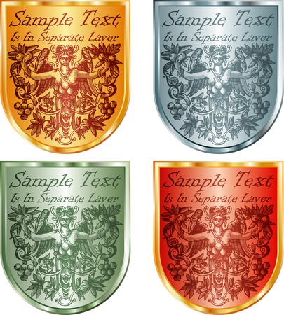 vector labels for fruit products with antique drawing on shield Vector