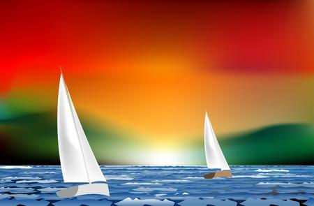 sunset sailing like watercolor painting Vetores