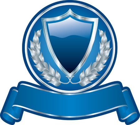 silver medal:  blank blue medallion with shield and ribbon Illustration