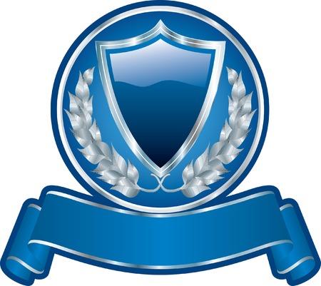 premio cinta: medall�n azul en blanco con el escudo y la cinta de opciones  Vectores