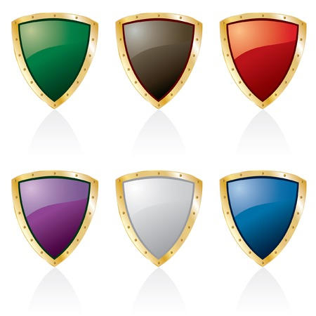 golden framed shields in six colors Vector