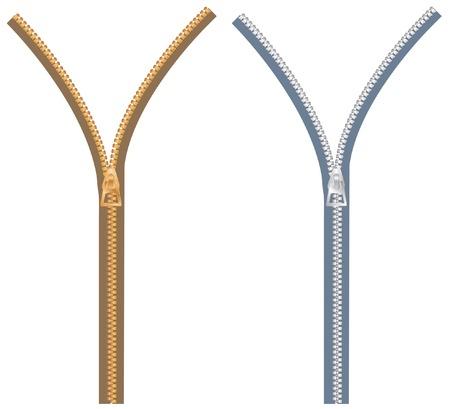 Reißverschluss in zwei Farb-Variationen  Vektorgrafik