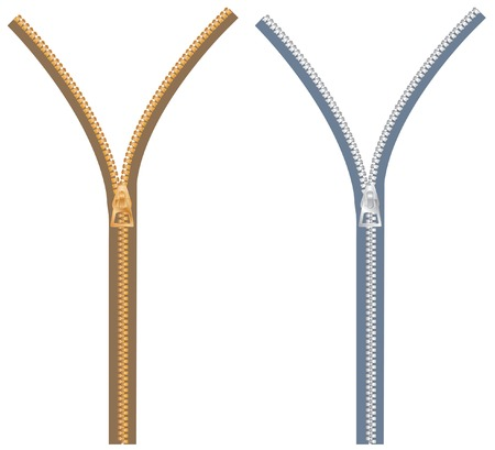 Zipper w dwóch wariacje kolorów  Ilustracje wektorowe