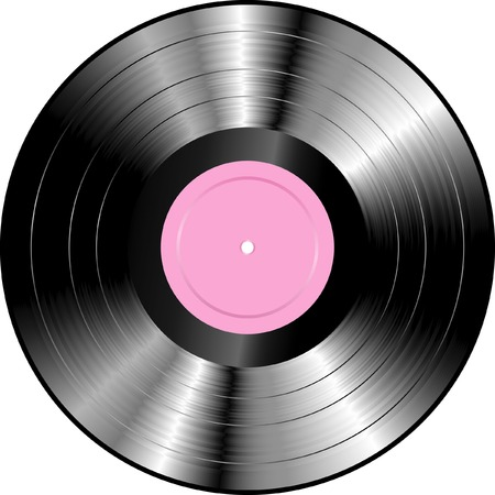 realistic LP vinyl record with blank rose label Vector