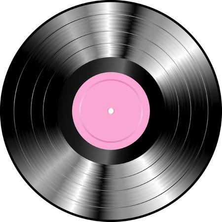 disk jockey: realistico LP in vinile con etichetta vuota rosa