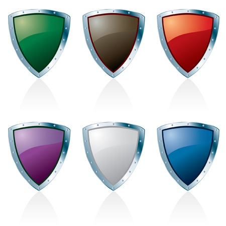 silver framed shields in six colors Stock Vector - 7211566