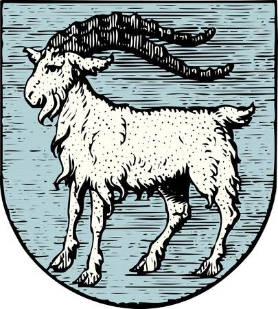 geit: gevectoriseerde antieke crest van Primorje-Gorski Kotar - Kroatië