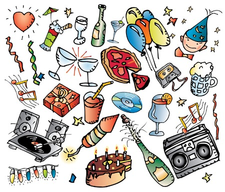 grouped: party wallpaper, grouped and fully editable  Illustration