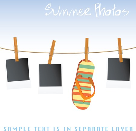 photos and sandal on rope Vector