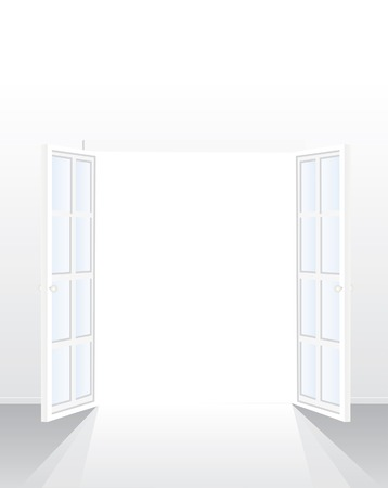 window light: opened french window in empty white room