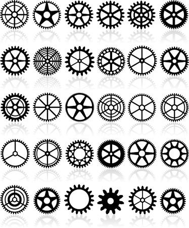 rueda dentada: conjunto de engranajes diferentes treinta  Vectores