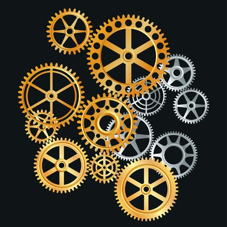 industrial machine: gears in gold and silver  Illustration
