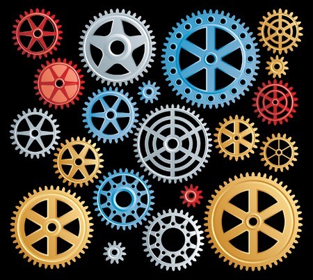 spin wheel: set of colorful gears