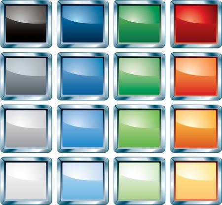 cuadrados: botones coloridos en blanco para web, inform�tica, etc..