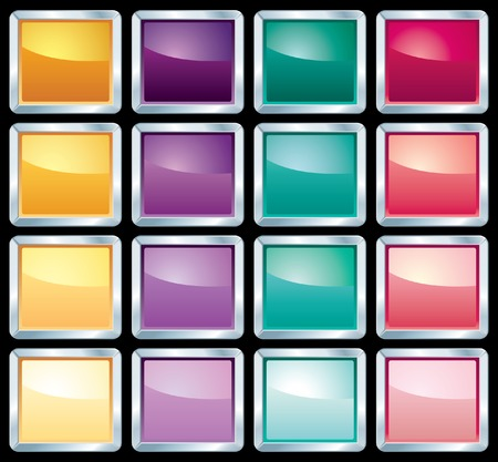 sixteen different web buttons Stock Vector - 7331376