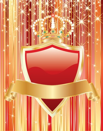 red shield with blank golden tape Stock Vector - 7331378