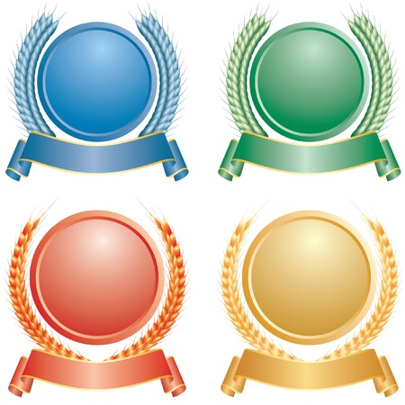 wheat with medallion in four colors Vector