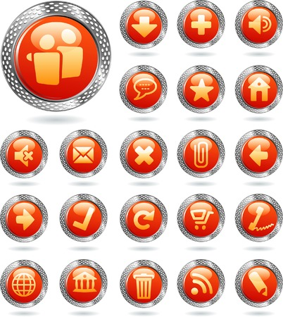 red icons in perforated metal ring Stock Vector - 7387488