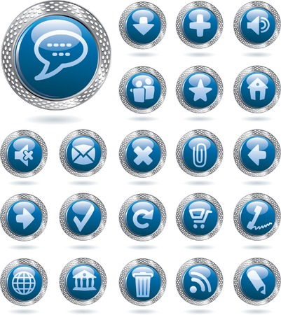 blue icons in perforated metal ring Vector