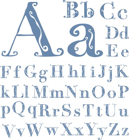 letterpress letters: original hand drawn alphabet in retro style, fully editable Illustration