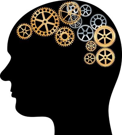 cyborg: Ilustraci�n con caja de cambios en el cerebro  Vectores