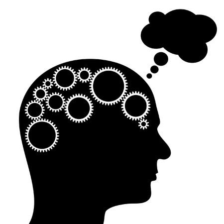 machine man: illustration of thinking man with gears in brain Illustration