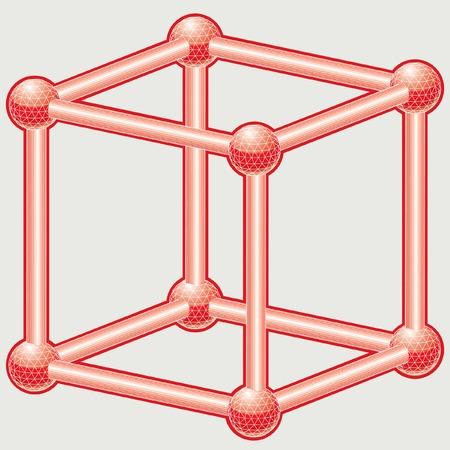 red cube: illustrazione del cubo wireframe rosso