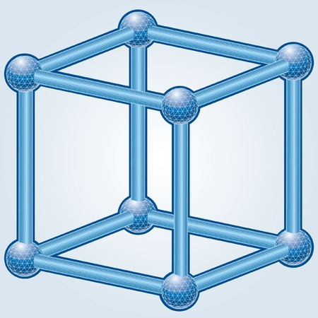 illustration of the wireframe blue cube Vector