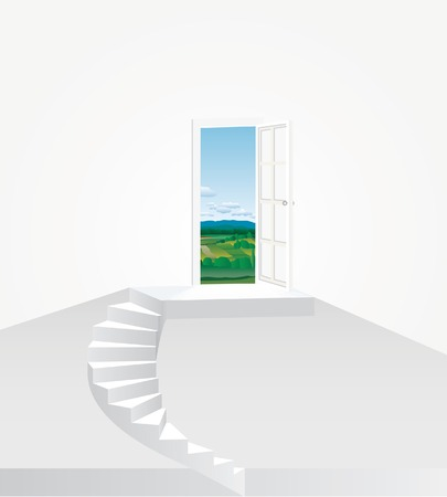 concrete stairs:   illustration with stairs and landscape Illustration
