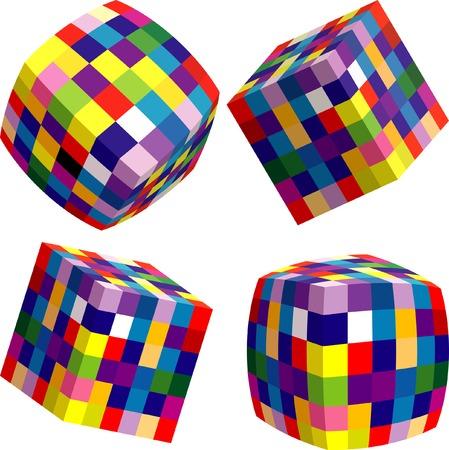 arte optico: cuatro cubos abstractos