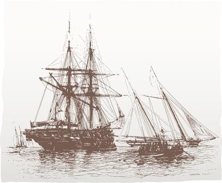 columbus: vectorizar vintage dibujo de periodicos alem�n de 1844  Vectores