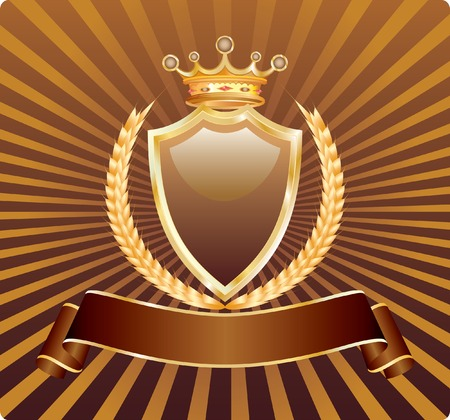 blank label with wheat and crown in chocolate and golden colors, fully editable Vector